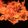 Stock Photo: Blazing flames on black background