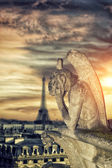 Chimera (gargoyle) of the Cathedral of Notre Dame de Paris — Stock Photo