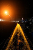 Welder working at the factory — Stock Photo
