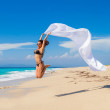 Beautiful Girl With White fabric on The Beach. — Stock Photo #39173341