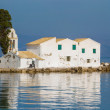 Stock Photo: Sunset scene of Vlachernmonastery, Kanoni, Corfu