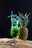 Mint, strawberry and pineapple cocktail  — Stock Photo