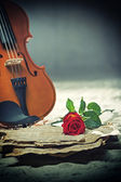 Violin sheet music and rose — Stock Photo