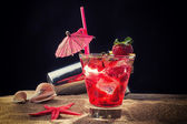 Fresh strawberry tropical cocktail with shaker — Stock Photo