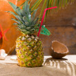 Pineapple cocktail at summer beach resort — Stock Photo