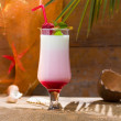Strawberry milkshake at tropical resort — Stock Photo