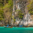 Longtail boats in the famous Maya bay of Phi-phi Leh island — Stock fotografie