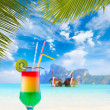 Cocktail and Long tailed boat in Thailand — Stock Photo