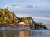 Hellenic temple and old castle at Corfu — Stock Photo