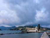 Scene of Vlacherna monastery, Kanoni, Corfu — Stock Photo