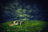 Rustic car on the hill — Stock Photo