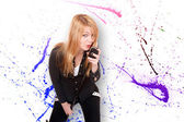 Giovane cantante donna — Foto Stock