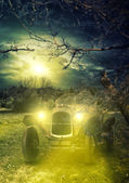 Vintage car in the wild at night — Stock Photo