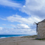 Old windmill ai Gyra beach, Lefkada — Stock Photo #45101097