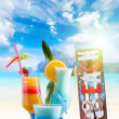 Three Fresh tropical cocktails on beautiful beach — Stock Photo #45690273