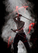 Warrior with his Katana — Stock Photo