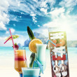 Three Fresh tropical cocktails on beautiful beach — Stock Photo #45705923