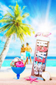 Icecream on the beach with young couple  — Foto de Stock