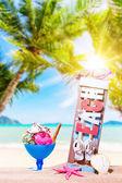 Ice cream on the tropical beach — Stock Photo