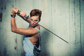 Warrior with her Katana — Stock Photo