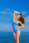 женщина на пляже — Стоковое фото