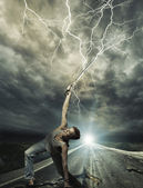 Warrior on road with Katana sword — Stock Photo