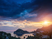 Paleokastritsa at sunset in COrfu — Stock Photo
