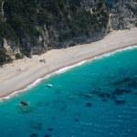 Aerial view of The bay of Paleokastritsa in Corfu — Stock Photo #48185573