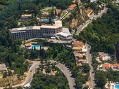 Aerial view of a hotel in Paleokastritsa in Corfu  — Stock Photo