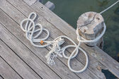 Ropes on the harbor deck  — Stock Photo