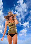 Woman with straw hat and corset  — Stock Photo