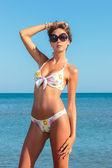 Picture of perfect female on sea coast — Stock Photo