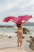 Asian model on the beach — Stock Photo