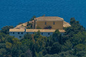 Aerial of monastery in Paleokastritsa, Corfu — Stock Photo