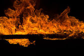 Blazing flames on black background — Stockfoto