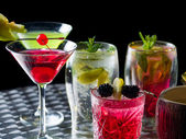 Many cocktails at the nightclub — Stock Photo