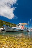 Fishing boat in the Harbor of Meganisi island in Lefkada — Foto de Stock