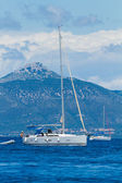 Sailing yacht in the Ionian sea — Stock Photo