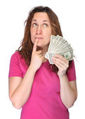 Young thoughtfully woman with money — Stock Photo
