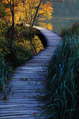 Wooden path in the Plitvice lakes — Stock Photo
