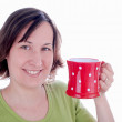 Woman with tea mug — Stock Photo