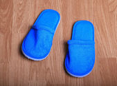House slippers on the brown wood floor — Stock Photo