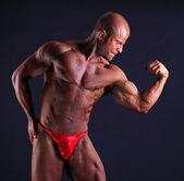 The muscular bodybuilder flexing biceps — Stock Photo