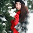 Young beautiful woman behind snow covered pine — Photo #43112415