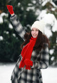 Joyfully young woman in winter — Stock Photo