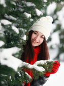 Young beautiful woman behind snow covered pine — Stock Photo
