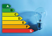 Energy saving chart with lightbulb — Zdjęcie stockowe