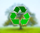 Recycling sign with deciduous tree — Stock Photo