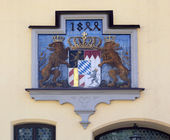 Ornamented painted hatchment of bavarian — Stock Photo