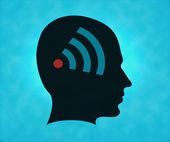 Profile of silhouette with wifi symbol — Stockfoto
